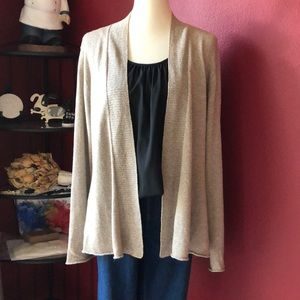 EILEEN FISHER TAN LINEN/COTTON CARDIGAN